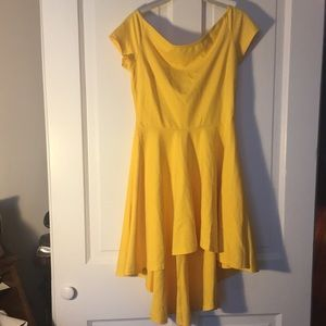 Dresses & Skirts - Yellow Off the Shoulder Hi Low Dress